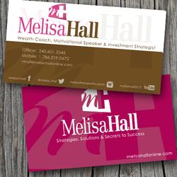 Wealth coach, Melissa Hall, business card designs