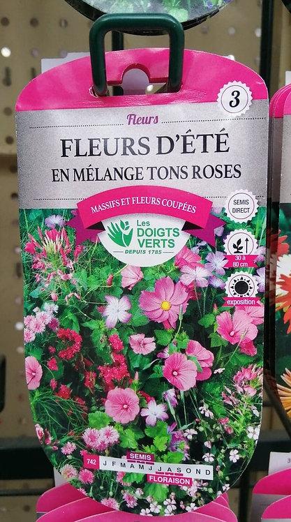 Fleurs dété en mélange tons roses n°3
