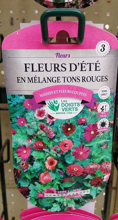 Fleurs d'tét en mélange tons rouges n°3
