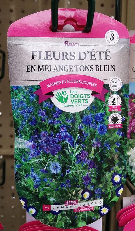 Fleurs d'été en mélange tons bleus n°3