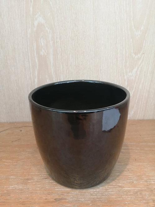 Cache Pot Noir Brillant
