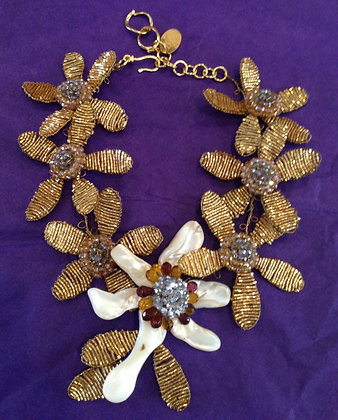 Gold Wired Necklace With Mother Of Pearl Pin