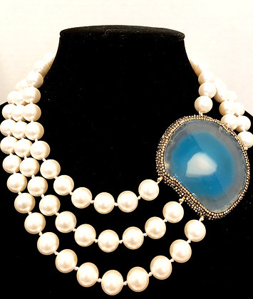 Sliced Agate 3 Row Pearl Neck