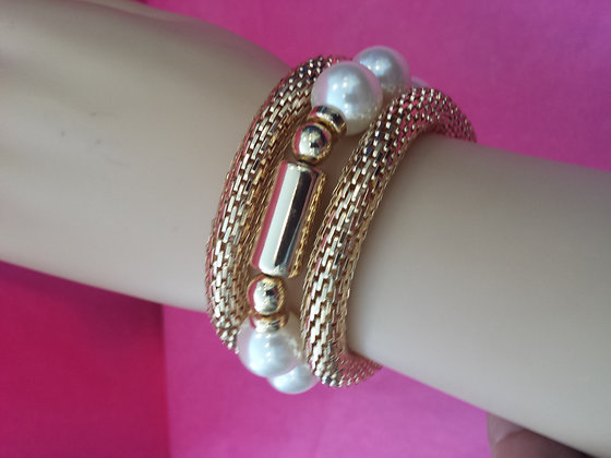 Tubular Gold Colored Bracelet with Faux Pearls
