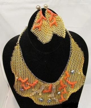Wooven Mesh And Coral Alexis Bittar Set
