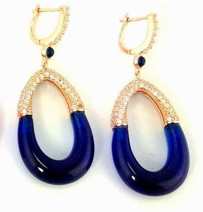 Resin and Crystal Earring Navy Blue