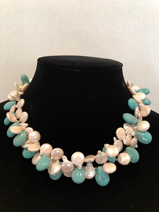 Keshi lCoin Pearls &Turquoise Necklace