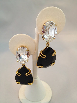 Hassan Bounkit Crystal And Black Clip Earrings