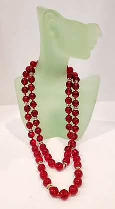 Vintage Red Glass Beads With Crystal Rondells