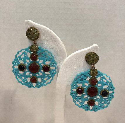 Filigree Resin Cornelian Earrings