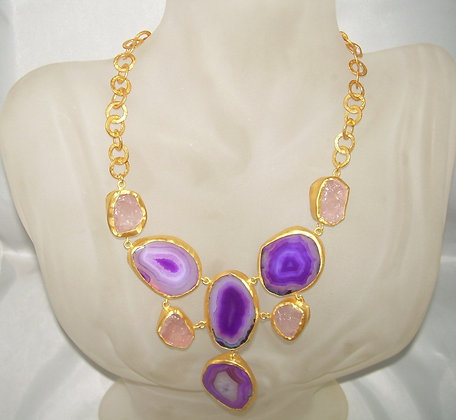 Purple Agates & Rose Quartz Gemstones Necklace