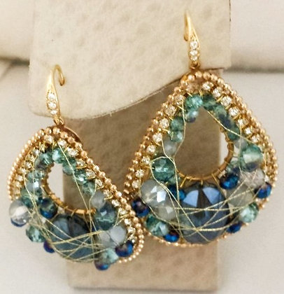 Golden Color Wired With Blue Crystals