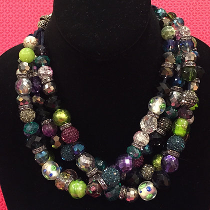 Magnificent Purple Multicolor Bead Choker