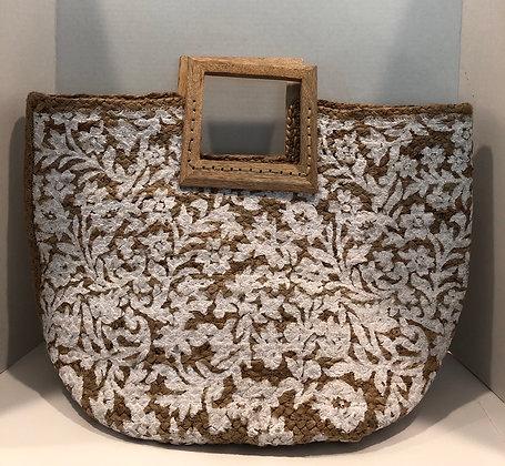 Embroidered Raffia Style Natural Tote