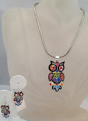 Silver Chain Stainless Steel Enamel Owl , Pendant