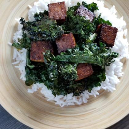 Baked Tofu with Kale on Coconut Rice