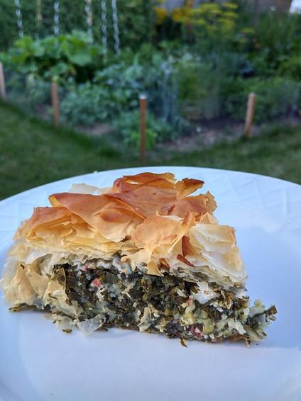 Mixed Greens Spanakopita Pie