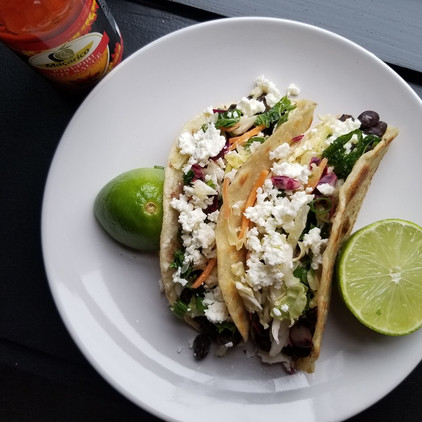 Crispy Black Bean Tacos with Feta & Slaw