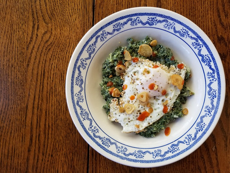 Fried Eggs With Ginger-Garlic Crisp & Creamed Greens