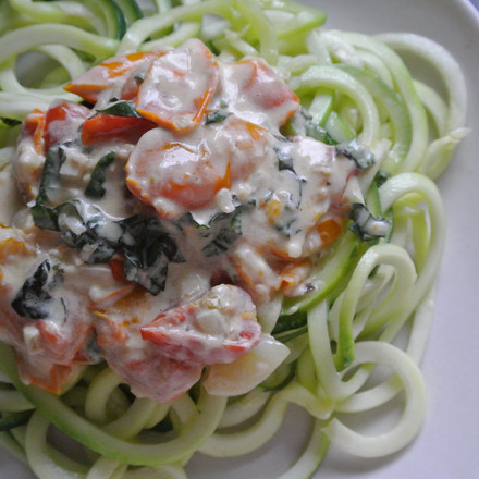 Zucchini Noodles with Tomatoes & Cream