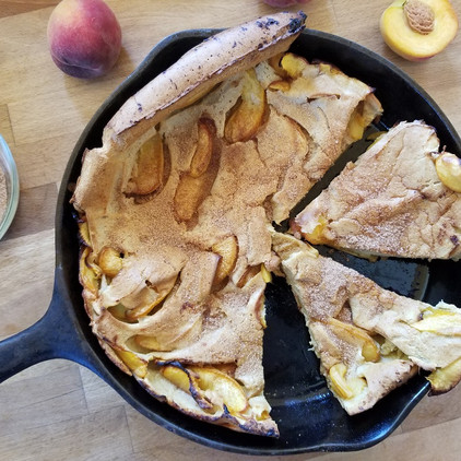 Brown Butter, Cinnamon, Peach Dutch Baby