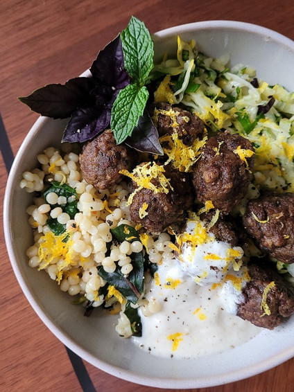 Spiced Meatballs, Israeli Couscous & Fresh Zucchini Salad with Honeyed Yogurt