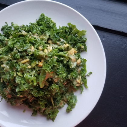 Kale & Mint Salad with Spicy Peanut Dressing