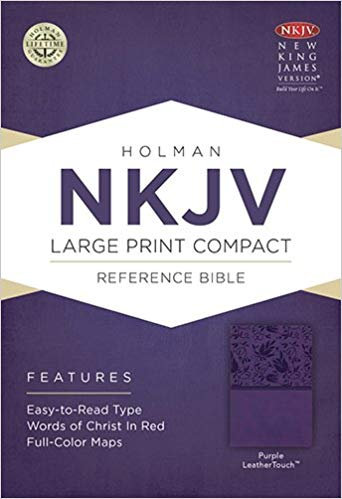 NKJV COMPACT LARGE REF PURPLE LEATHERTOUCH 8.5 PT RL