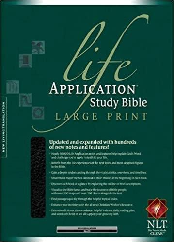 BIBLE NLT LIFE APPLICATION LARGE Font INDEX 017 Black Bonded 11.5 PT RL