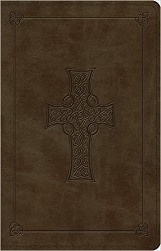 BIBLE ESV LARGE THINLINE REF TRUTONE OLIVE CELTIC CROSS 10.5 PT