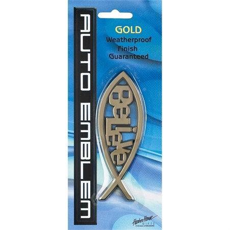 AUTO EMBLEM FISH BELIEVE Gold AE-107-G