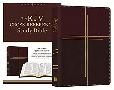 KJV STUDY COMPACT MAHOGANY IMITATION CENTER COLUMN CROSS REFERENCE RL 8 PT