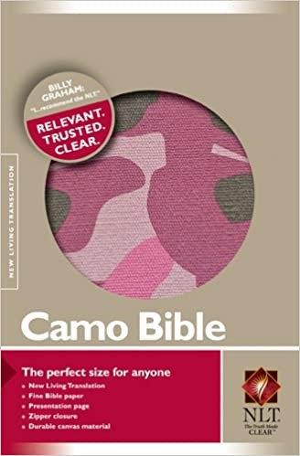 BIBLE NLT COMPACT CAMO ZIP PINK CANVAS 6.19 PT