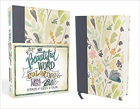 NIV BEAUTIFUL WORD COLORING LARGE BIBLE HC SINGLE COLUMN NAVY 10 PT