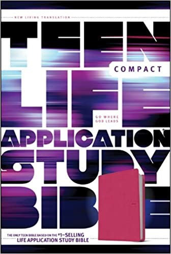 BIBLE NLT LIFE APPLICATION TEEN COMPACT PINK LEATHERLLIKE 7.12 PT AGE 14 TO 18