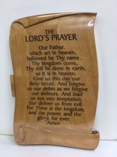 PLAQUE LORDS PRAYER EU65-150 SCROLL WOOD
