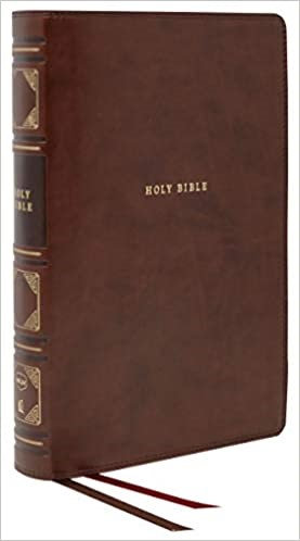 BIBLE NKJV 568 BROWN LEATHERSOFT CENTER COLUMN VERSE BY VERSE RL 11 PT