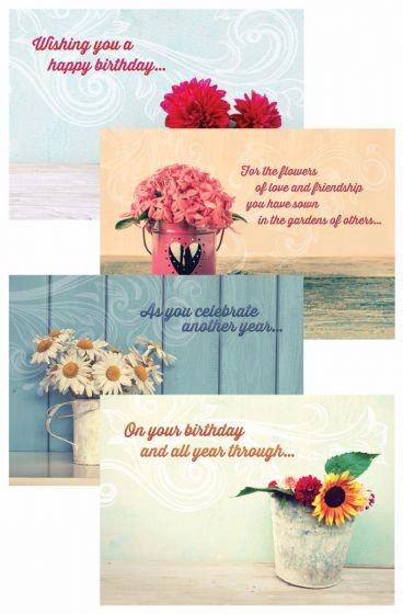CARD BOX BIRTHDAY FLOWER G1126 12 CARDS 4 DESIGNS