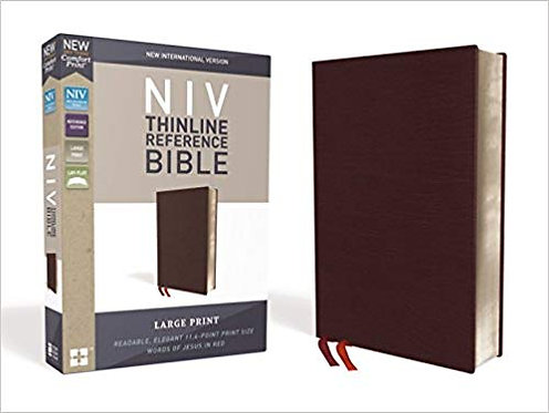 NIV Thinline Reference Bible - Large Print, Bonded Leather, Burgundy (560)