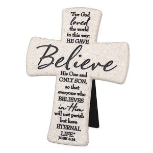 CROSS BELIEVE WHITE 11345 JOHN 3 CAST STONE  6 HT