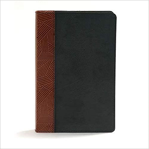 BIBLE CSB RAINBOW STUDY 878 BLACK TAN LEATHERTOUCH 10 PT