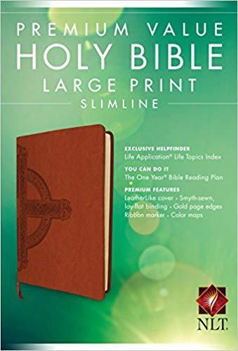 BIBLE NLT SLIMLINE LARGEFONT 864 Brown Leatherlike