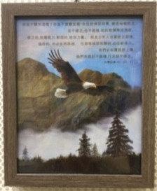 FRAME CHINESE NI QI BU 882 ISAIAH 40 : 28 - 31   23 CM X 28.5 CM