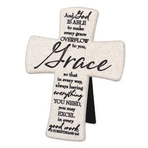 CROSS GRACE 11348  2 COR 9 CAST STONE  6 HT