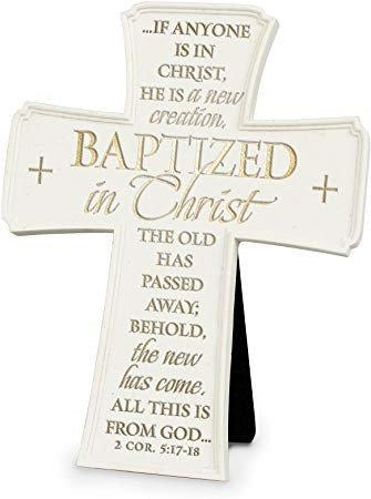 CROSS BAPTIZED IN CHRIST 662 11266  CERAMIC WHITE 7 HT JOHN 6