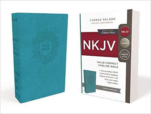 NKJV VALUE THINLINE COMPACT 514 BIBLE BLUE IMITATION RL 6.5 PT
