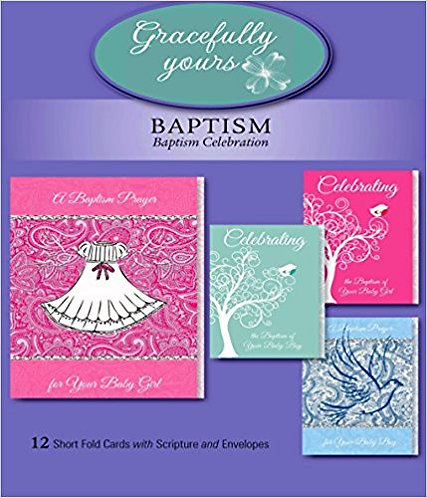 Card Box Baptism 143 12 pcardscs 3 each of 4 designs