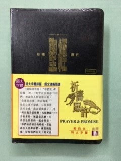 CHINESE BIBLE CUV LARGE TRAD 338 BLACK BONDED CAT1338 PRAYER PROMISES