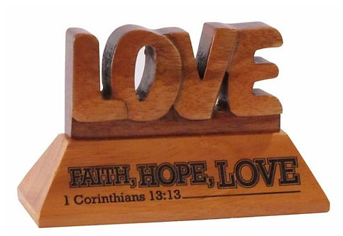 Table Plaque Faith Hope Love Wood GW-49