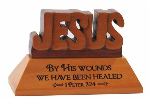 Table Plaque Jesus By His Wounds Wood GW-22
